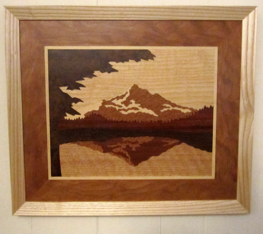LB111 -Marquetry Landscape - Mount Hood