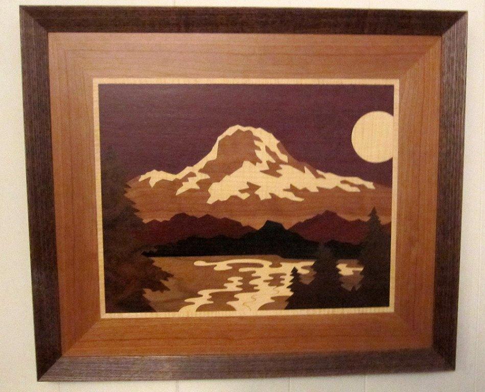 LB109 - Marquetry Landscape - Mount Rainier