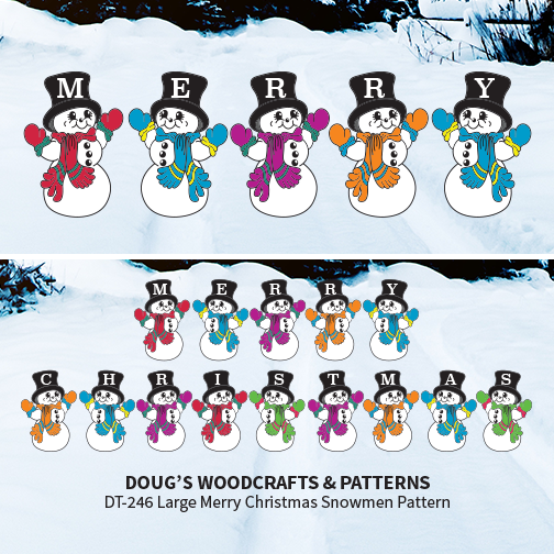 DT-246 Large Merry Christmas Snowmen Pattern