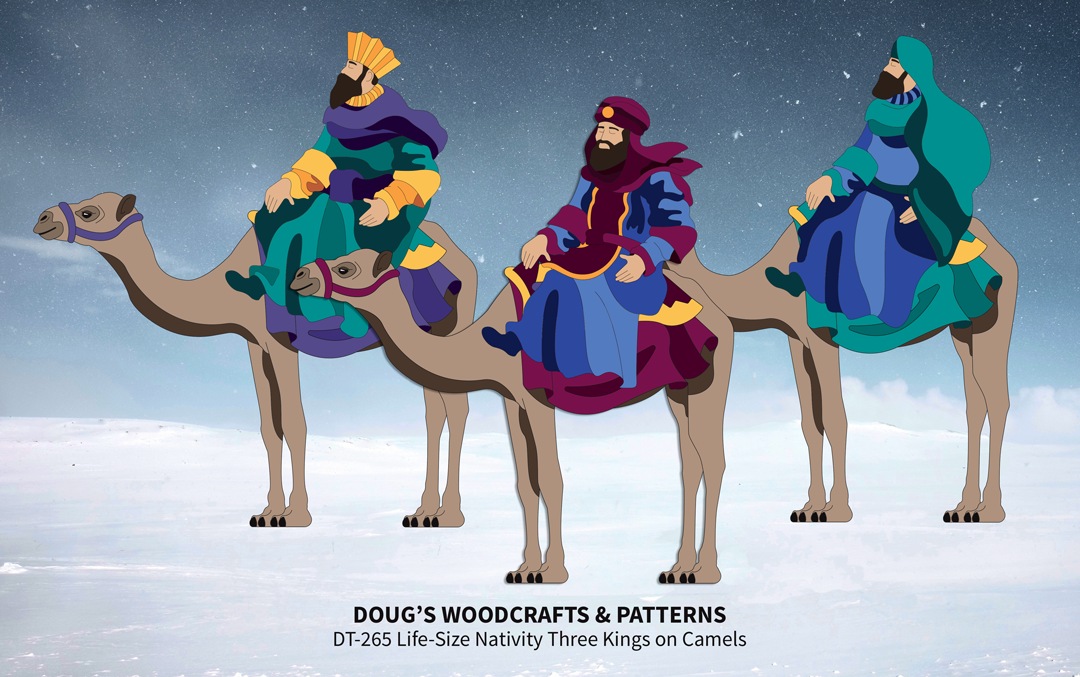 DT-265 Life-Size Nativity - Three Kings on Camels