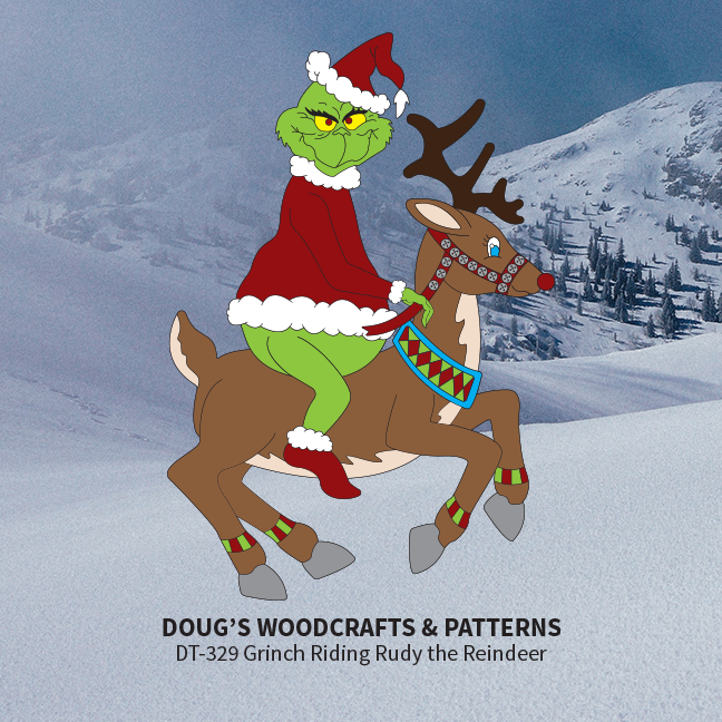 DT-329 Grinch Riding Rudy the Reindeer Pattern