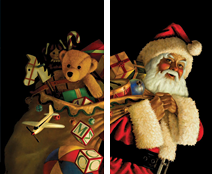 WP113 - Santa Claus with Toy Sack Window Poster