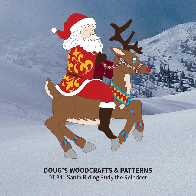 DT-341 Santa Riding Ruddy the Reindeer Pattern