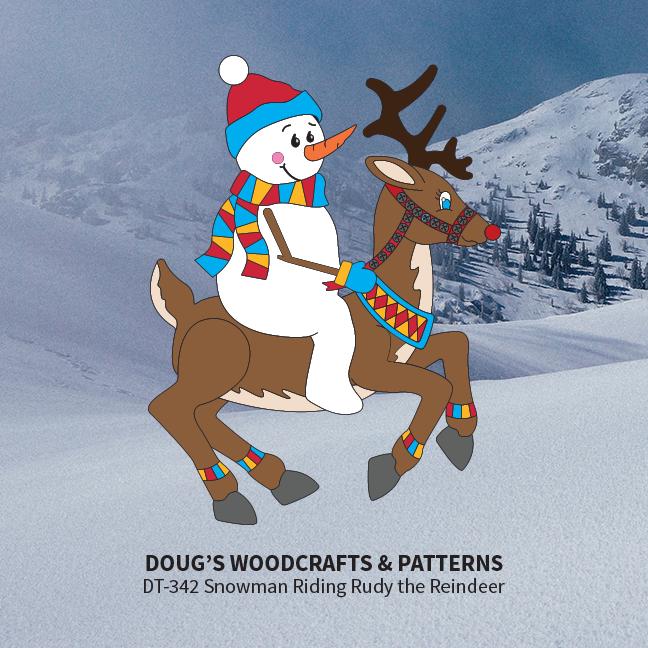 DT-342 Snowman Riding Ruddy the Reindeer